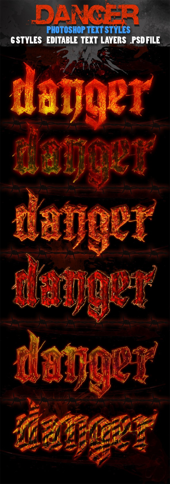 Danger Text Styles - Text Effects Styles
