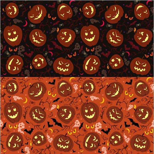 Halloween Pumpkins Seamless Patterns