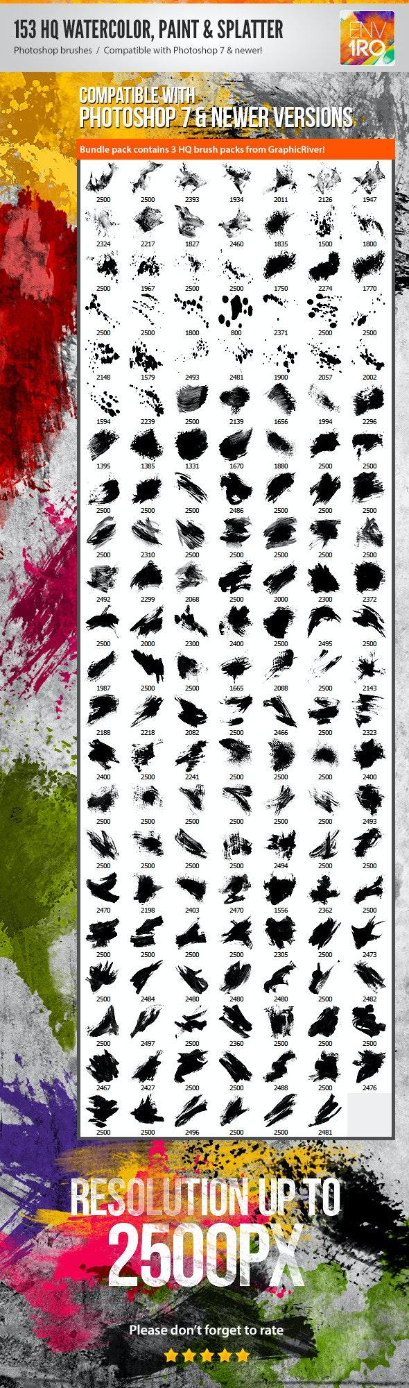153 Watercolor Paint & Splatter Photoshop Brushes - Artistic Brushes