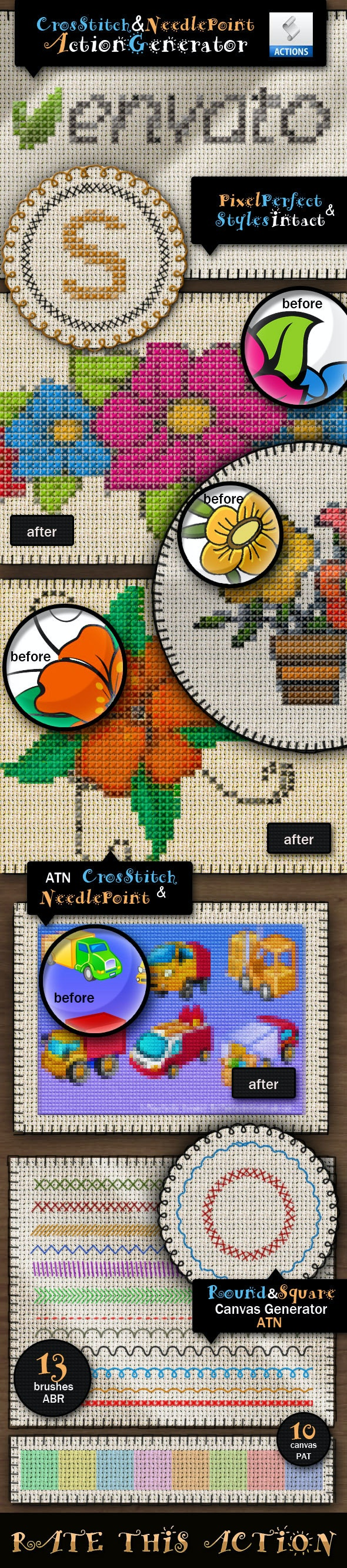Cross Stitch and Needlepoint Action - Utilities Actions