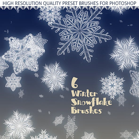 6 Snowflakes; Realistic Snow Crystal Effect