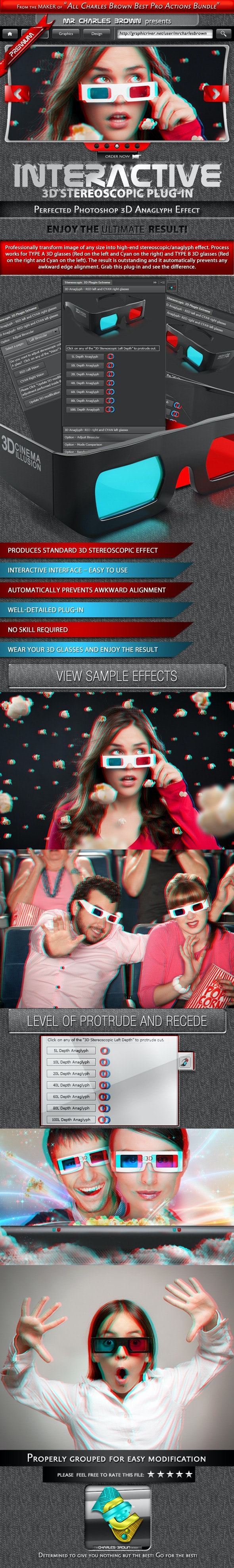 Interactive 3D Stereoscopic Effect - Photo Effects Actions