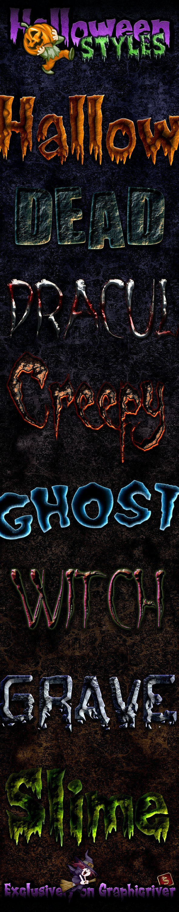 Halloween and Horror Photoshop Styles - Text Effects Styles
