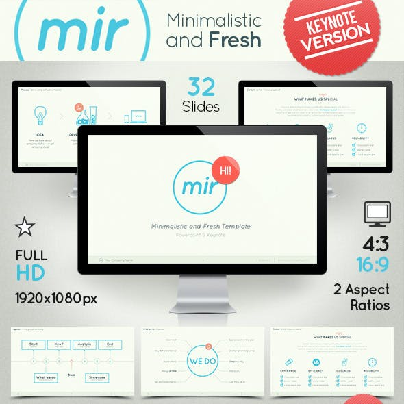 Mir- Minimalistic and Fresh Keynote Template