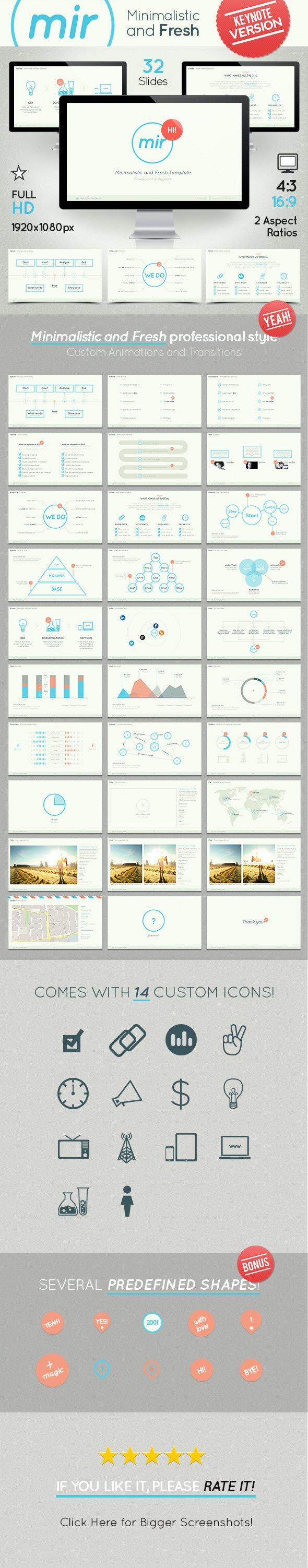 Mir- Minimalistic and Fresh Keynote Template - Keynote Templates Presentation Templates