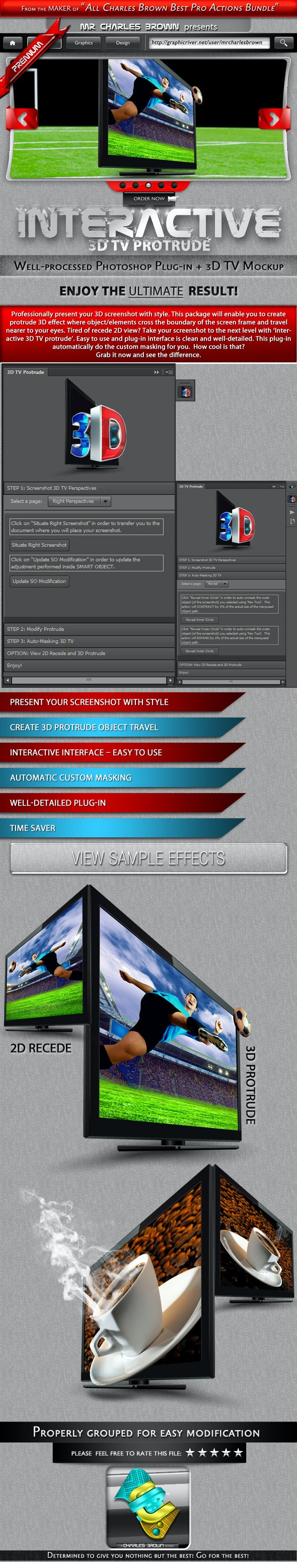 Interactive 3D TV Protrude - Actions Photoshop