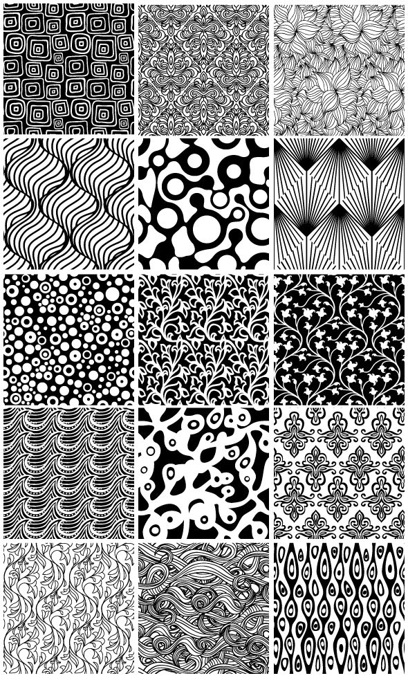 15 Black and White Floral Seamless Patterns - Artistic Textures / Fills / Patterns