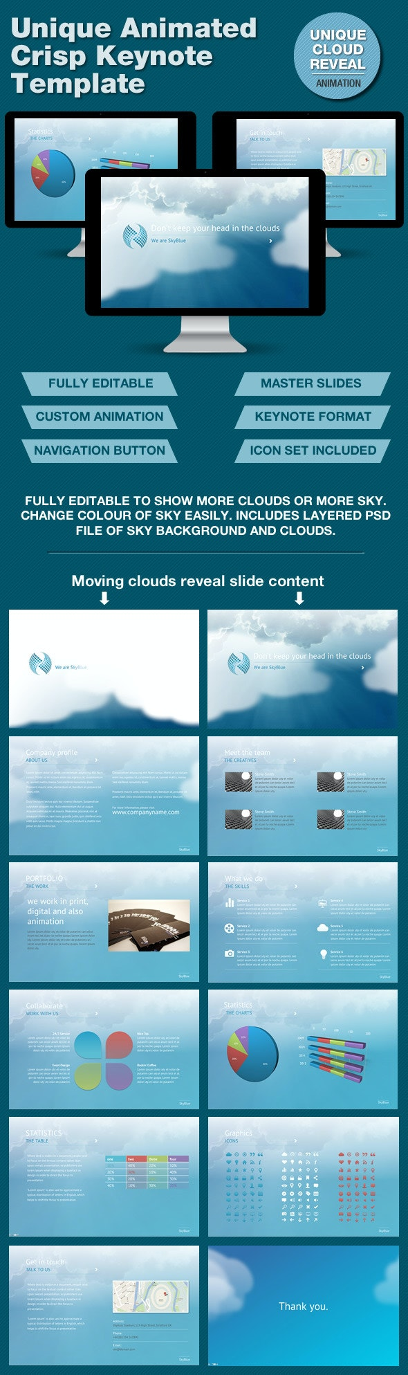 SkyBlue Keynote Template with Unique Animation - Keynote Templates Presentation Templates