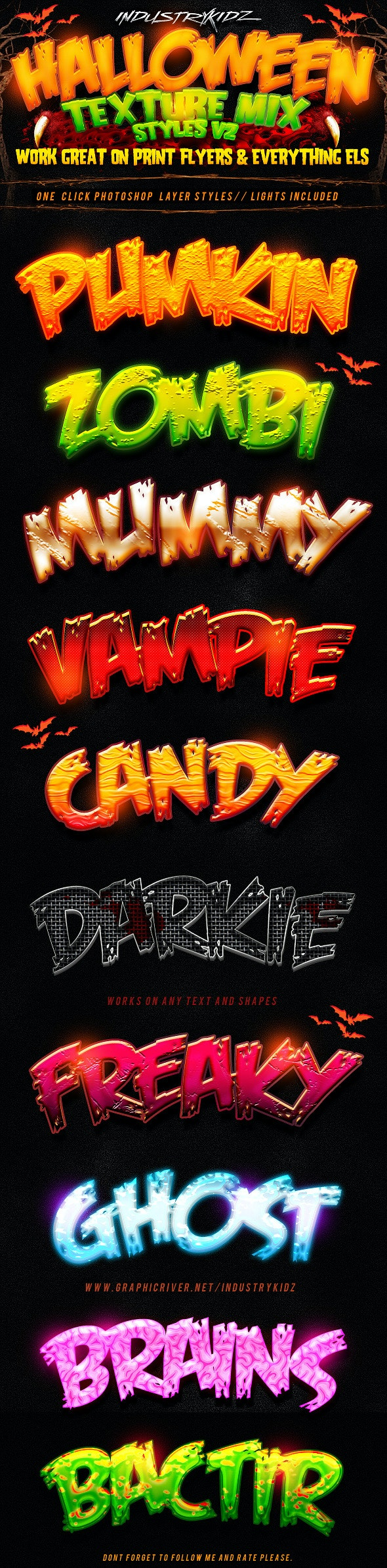 Halloween Photoshop Layer Styles  V2 - Text Effects Styles