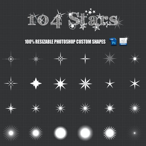 104 Stars Photoshop Custom Shapes