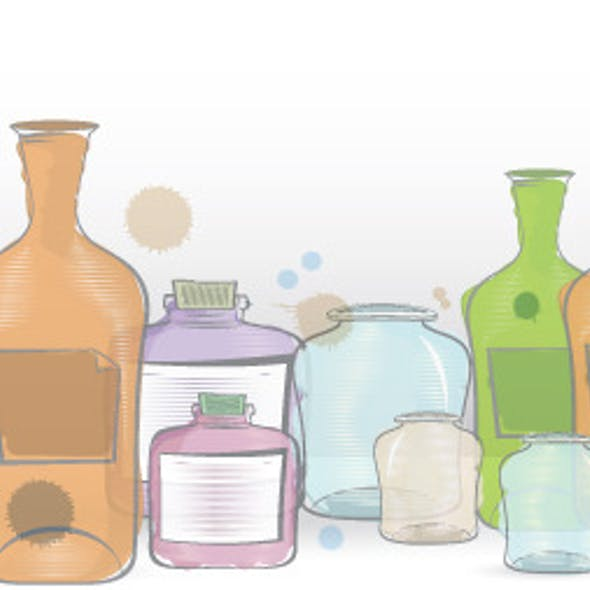 Water Color Jars Border Vector