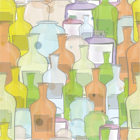 Water Color Bottles Seamless Vector - Artistic Textures / Fills / Patterns