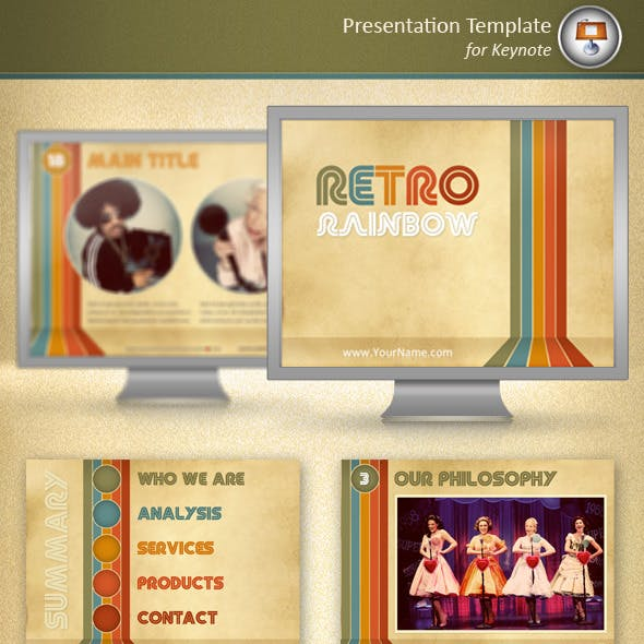 Retro Rainbow Keynote Template
