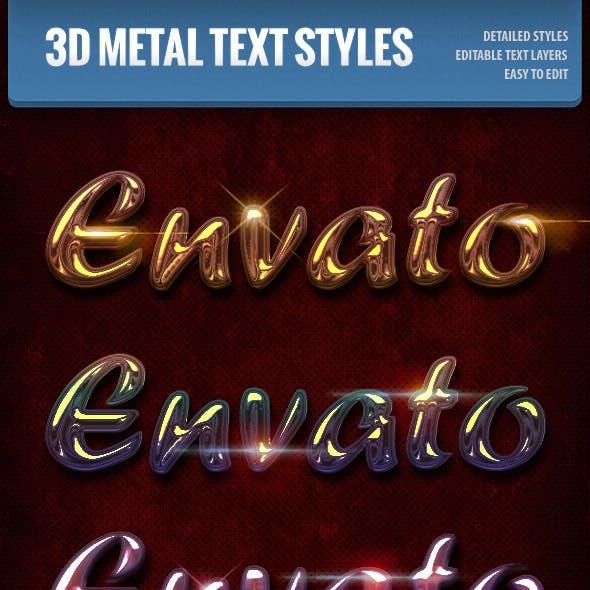 3D Metallic Text Styles