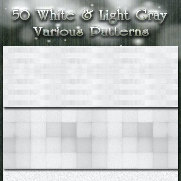 50 White and Light Gray Various Patterns