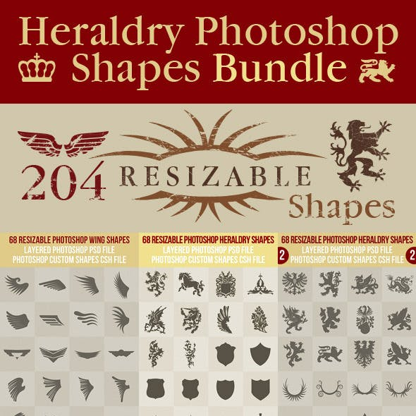 Heraldry Photoshop Shapes Bundle