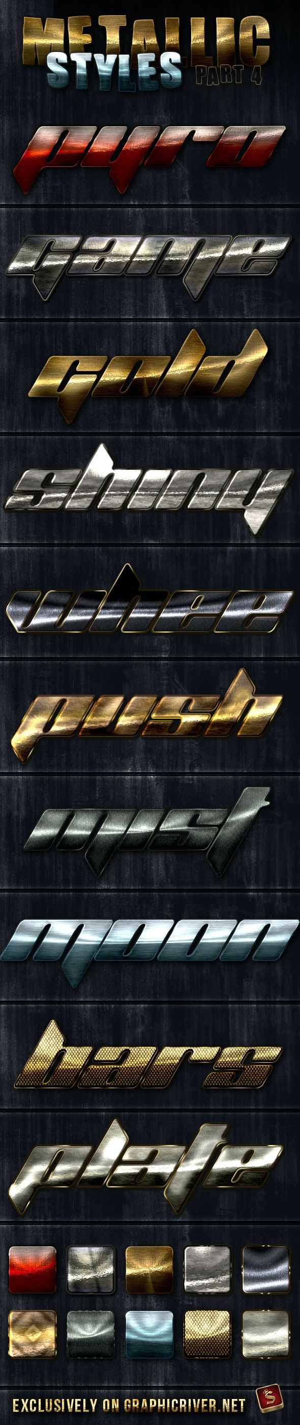 Unique Metallic Styles - Part 4 - Text Effects Styles