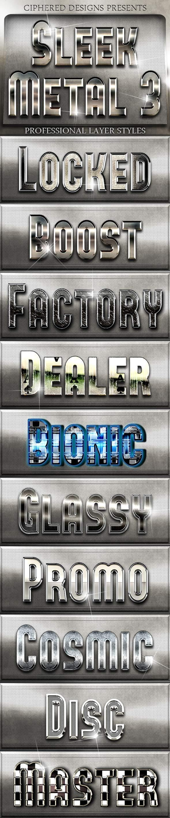 Sleek Metal III - Professional Layer Styles - Text Effects Styles