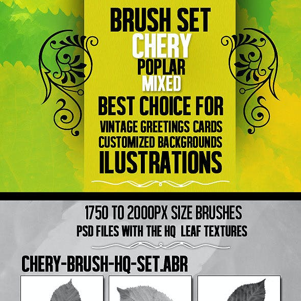 Leaf Brush Set With 3 HQ PSD resource