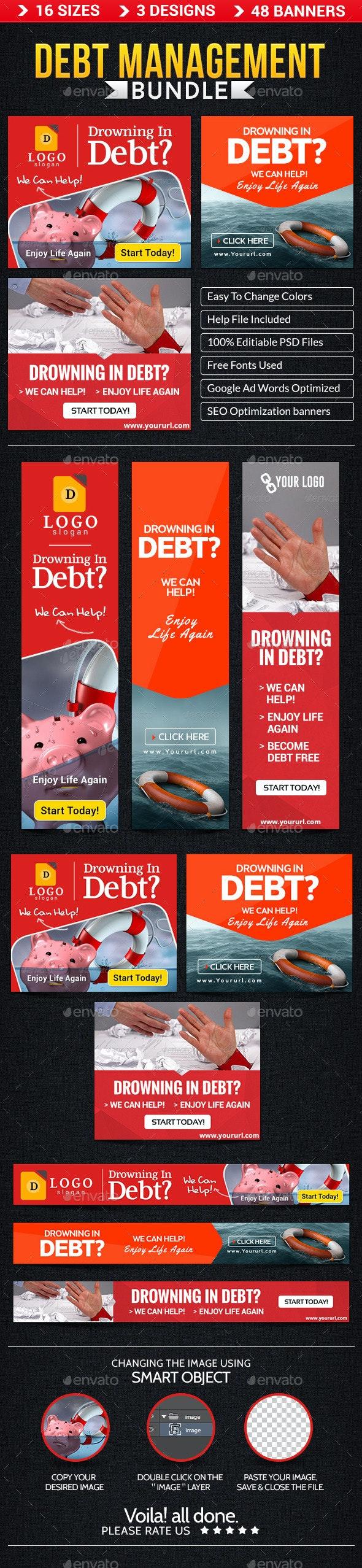 Debt Management Banner Bundle - 3 sets - Banners & Ads Web Elements