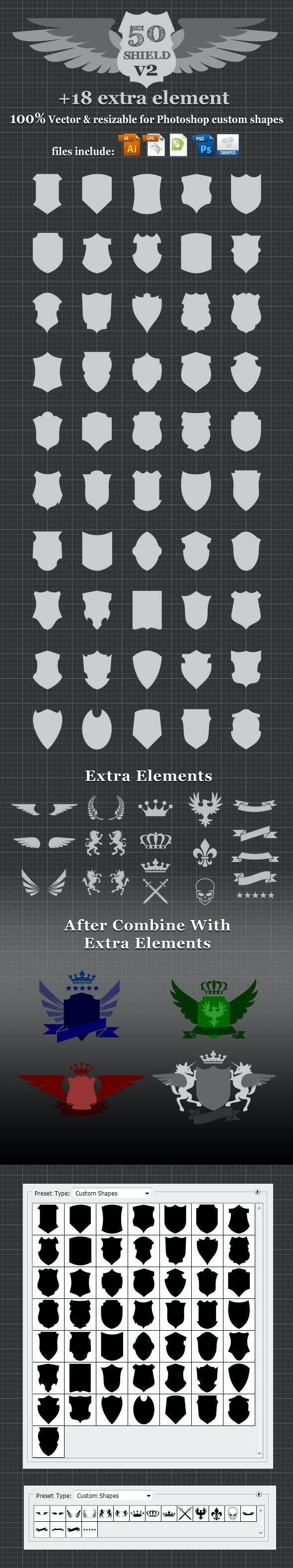 50 Shield v2 Custom Shapes - Symbols Shapes