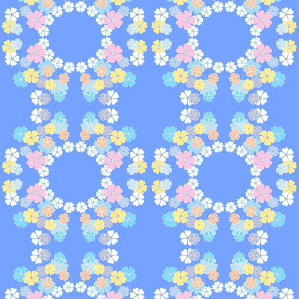 Gentle Flowers on the Blue Seamless Background