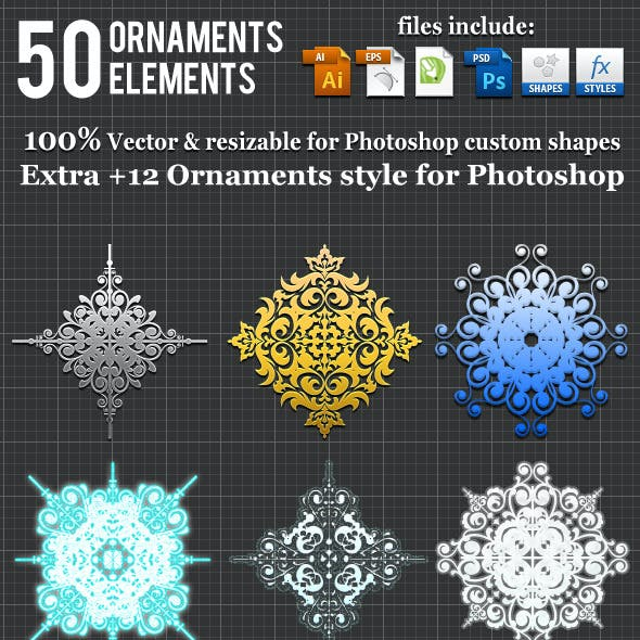 50 Ornaments Element Photoshop Custom Shape