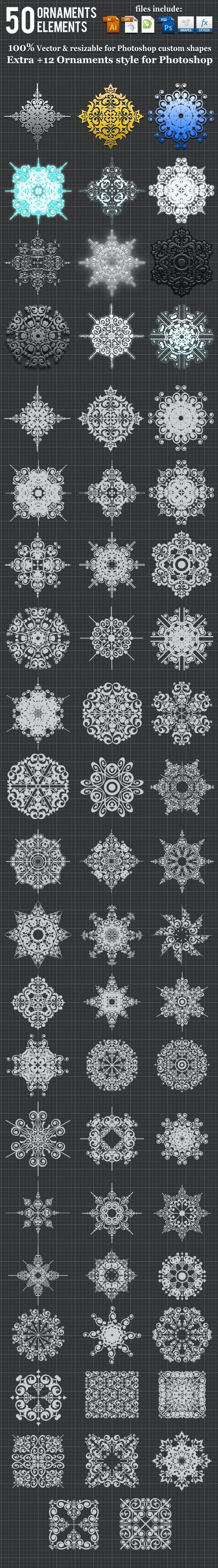 50 Ornaments Element Photoshop Custom Shape - Miscellaneous Shapes