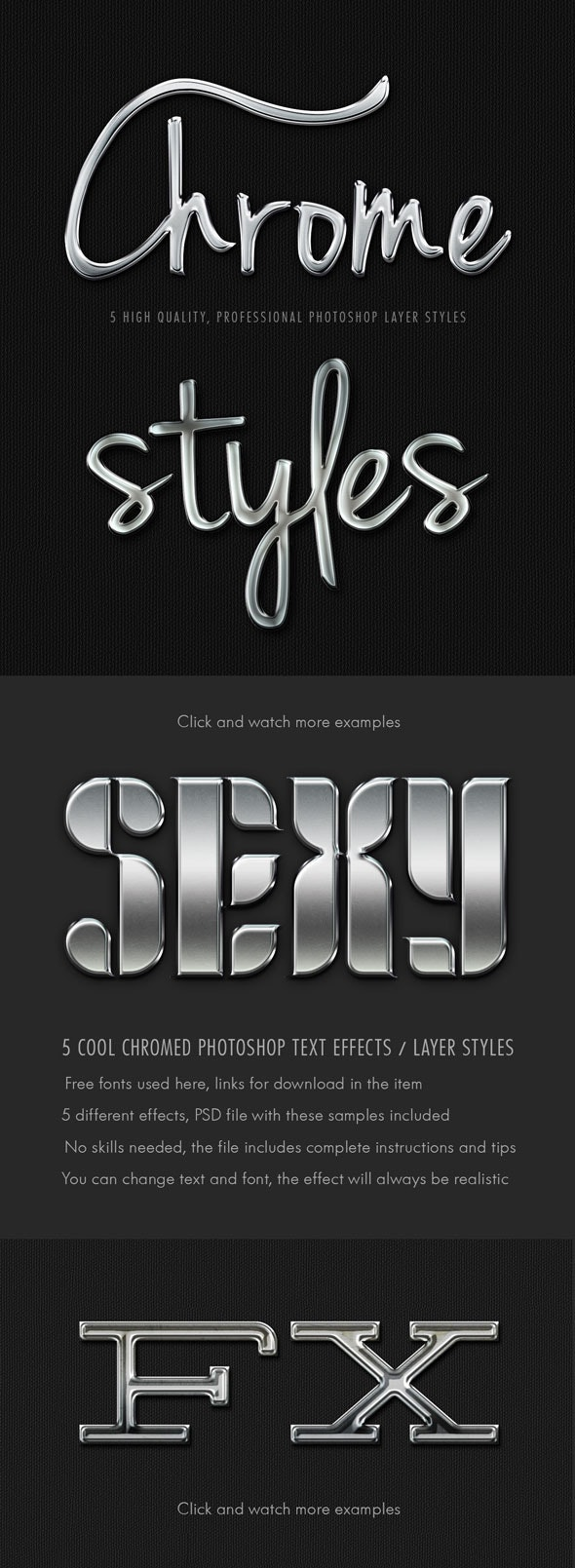 5 Realistic Pro Chrome Layer Styles - Text Effects Styles