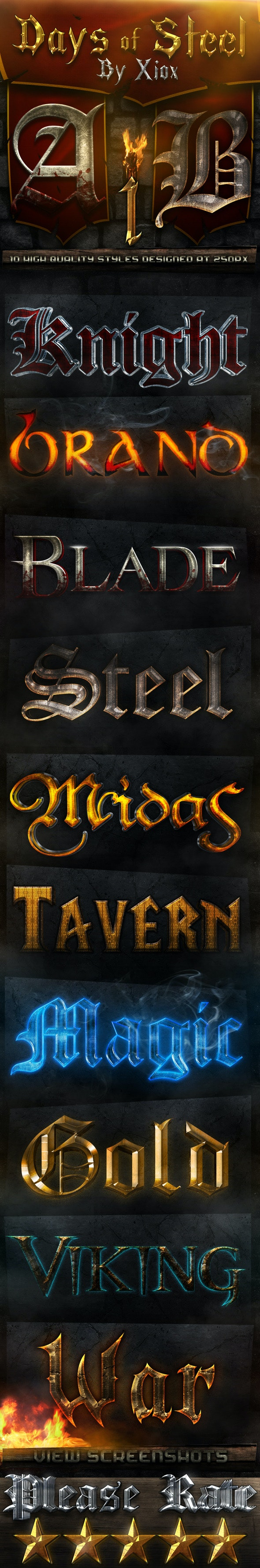 Days of Steel - Style Pack 1- - Text Effects Actions
