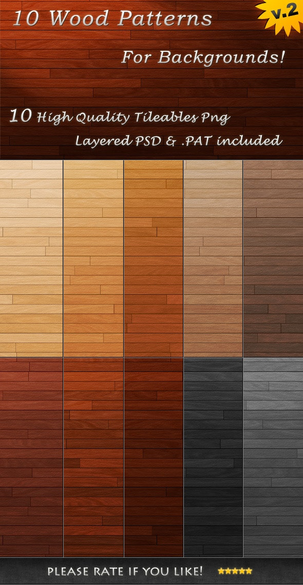 10 Tileable Wood Textures - Urban Textures / Fills / Patterns