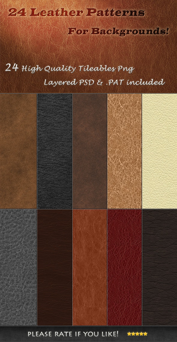 24 Tileable Leather Textures - Textures / Fills / Patterns Photoshop