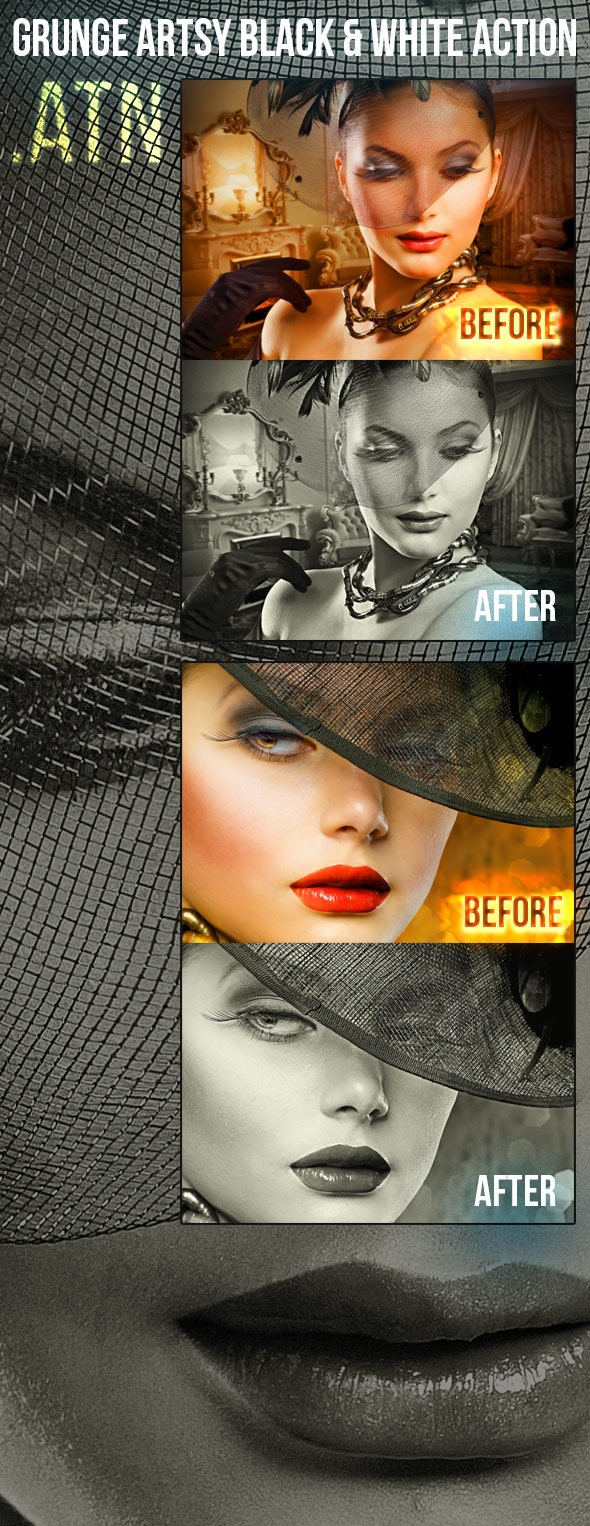 Grunge Black & White Photoshop Action - Photo Effects Actions