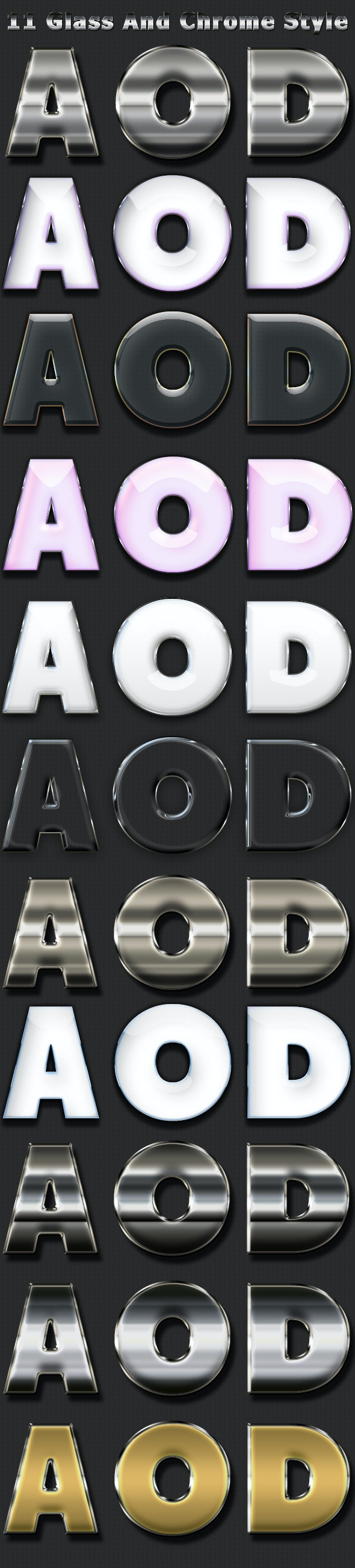 11 Glass&Chrome Styles - Text Effects Styles