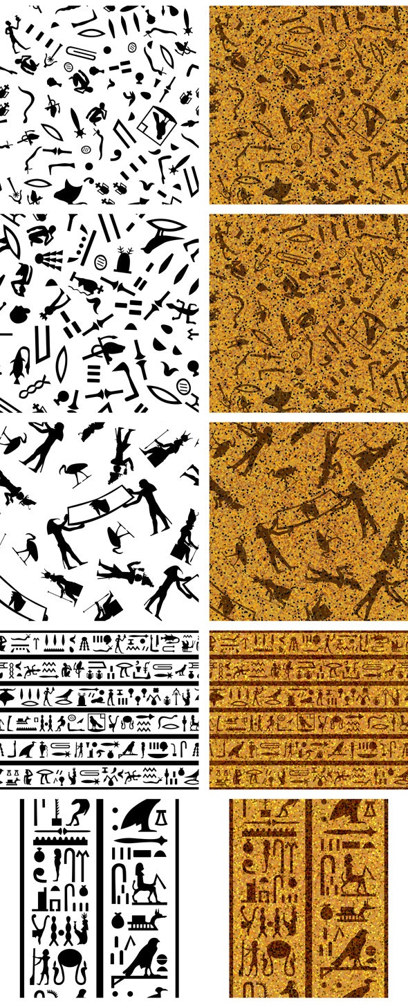 Set of Egyptian Seamless Backgrounds - Textures / Fills / Patterns Illustrator