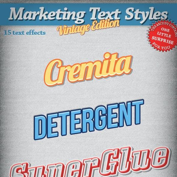 Marketing Text Styles - Vintage Edition