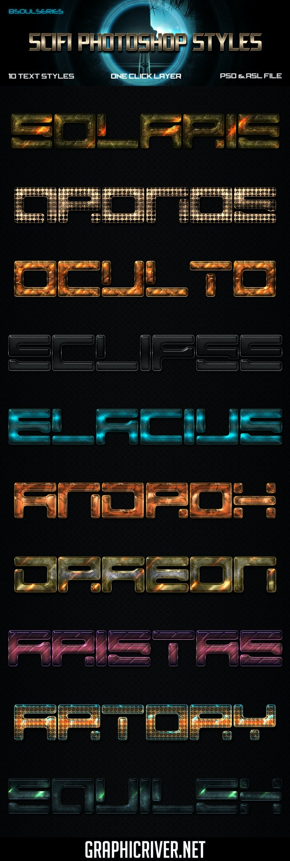 Scifi Photoshop Styles - Text Effects Styles