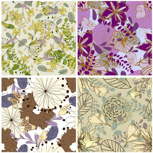 Floral Seamless Pattern Set - Textures / Fills / Patterns Illustrator