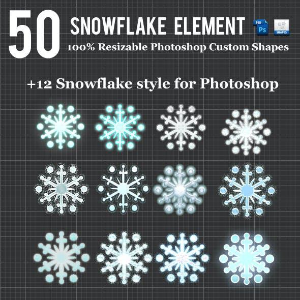 50 Snowflake Element For Photoshop Custom Shapes