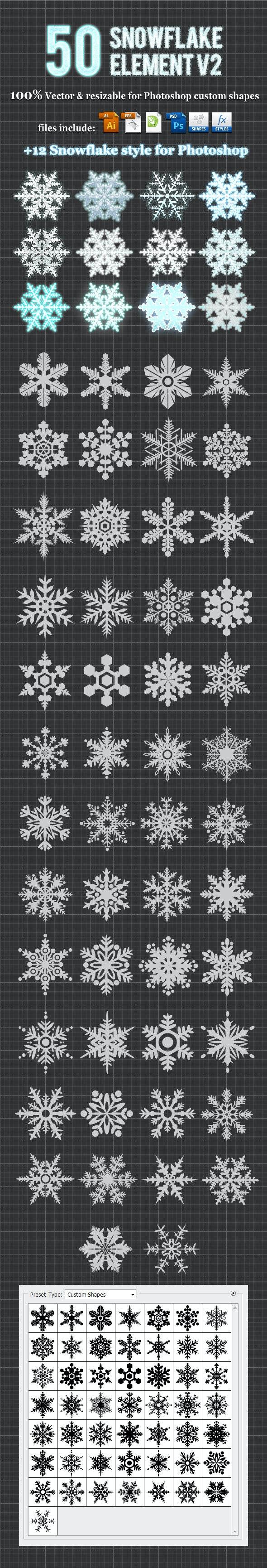 50Snowflake Element v2 Photoshop Custom Shapes - Miscellaneous Shapes