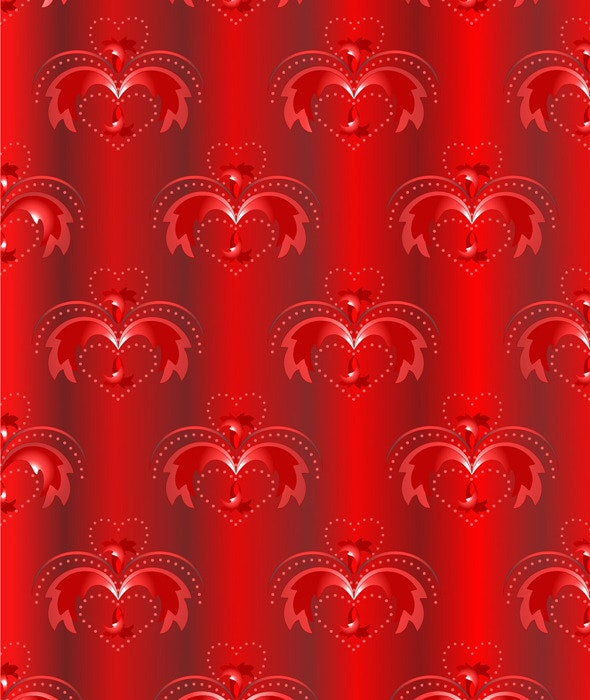 Red Satin Background with Oriental Pattern - Textures / Fills / Patterns Illustrator