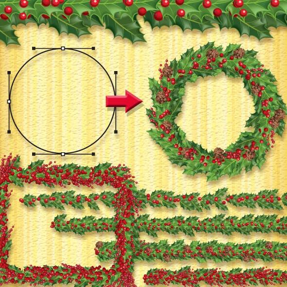Christmas Holly Brush