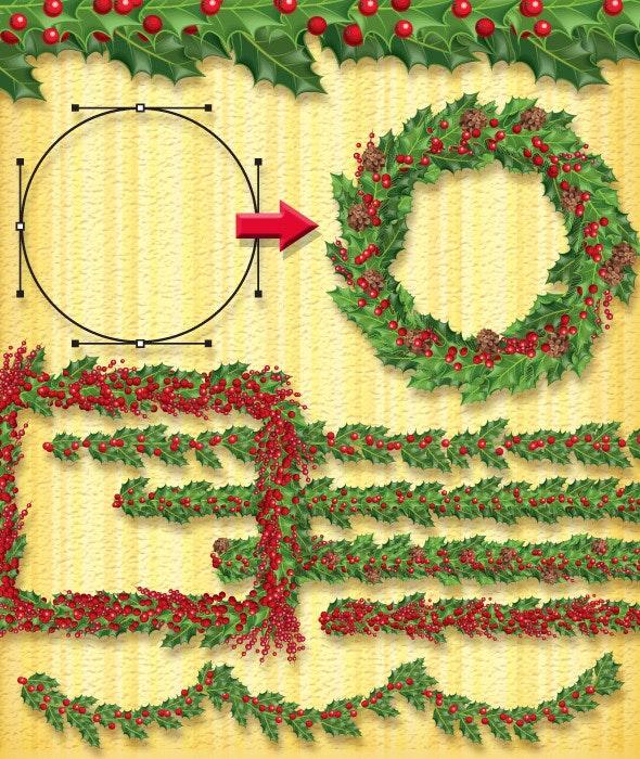 Christmas Holly Brush - Brushes Illustrator