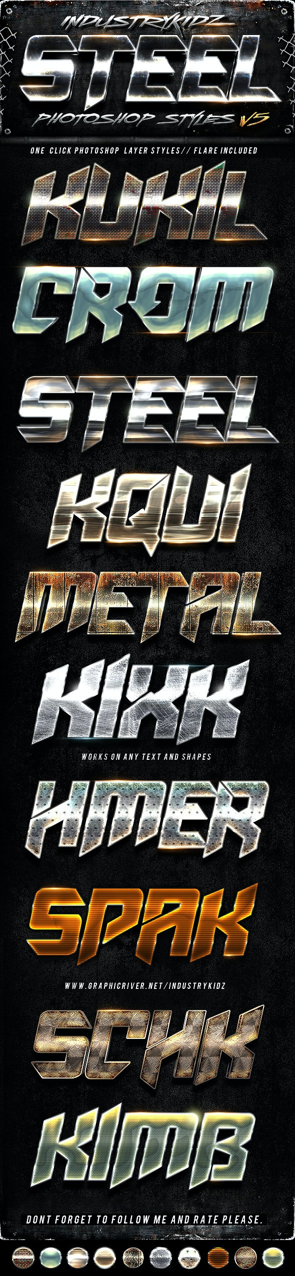 Metal Photoshop Layers Styles V5 - Text Effects Styles