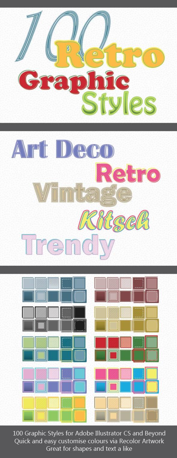 100 Retro Graphic Styles for Adobe Illustrator - Styles Illustrator