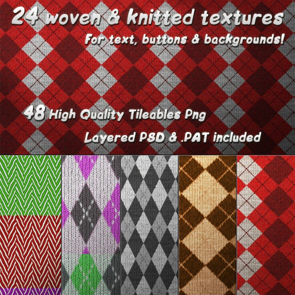24 Tileable Woven & Knitted Textures