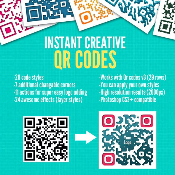 Instant QR Code Designs - Photoshop Actions