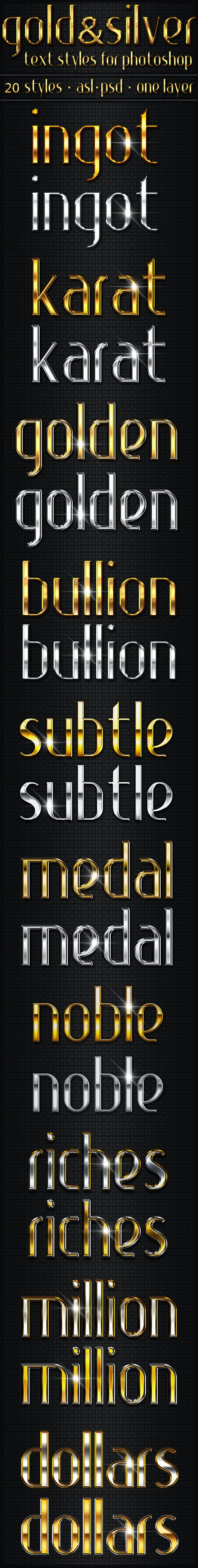 Gold & Silver - Text Styles - Text Effects Styles
