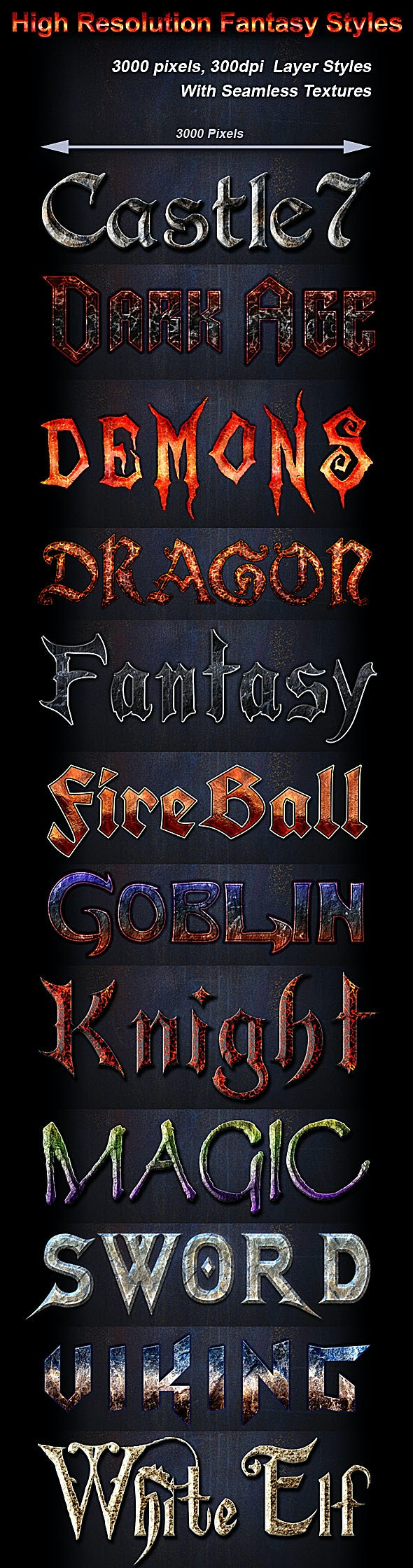 High Resolution Fantasy Styles - Text Effects Styles