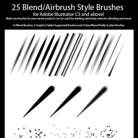 25 Blend Airbrush Style Brushes for Illustrator